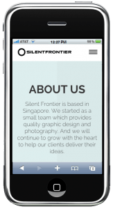 Silentfrontier website in iPhone browser