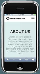 Silentfrontier website in iPhone browser